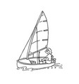man ride sail windsurfing cartoon vector image