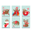 merry christmas lazy sloth happy new year cute vector image