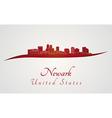 Newark skyline in red vector image