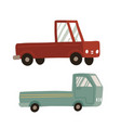 pickup truck set two icons pickup isolated on vector image