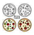 pizza icons set coloring fast food vector image vector image