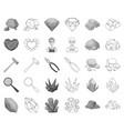 precious minerals monochromeoutline icons in set vector image vector image