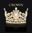 royal gold crown with jewels and ornament vector image vector image