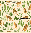 seamless pattern with leopards and tropical vector image vector image