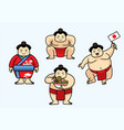 set of cute sumo japan character vector image