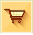 Shopping Cart Icon on Retro Yellow Background vector image vector image