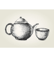 Sketch of a teapot and cup vector image