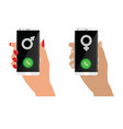 smartphone in human hand and calling the opposite vector image