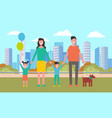 smiling people walking in city family vector image vector image