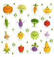 vegetables characters with funny emotions vector image vector image