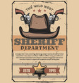 wild west sheriff gun and western cowboy hat vector image vector image
