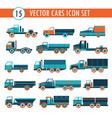 15 truck cars icon set transportation vector image vector image