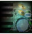 abstract dark green grunge background with drum vector image vector image