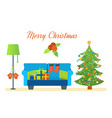 atmosphere of new year furniture for relaxing vector image vector image