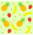 background with strawberry pineapple and banana vector image