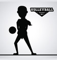 black silhouette faceless woman volleyball player vector image