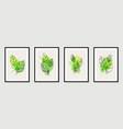 botanical wall art set tropical foliage line art vector image