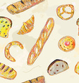 Bread and bans seamless pattern for the bakery vector image vector image