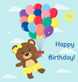 brown bear flies on balloons in the sky in the vector image