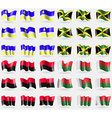 Buryatia Jamaica UPA Madagascar Set of 36 flags of vector image vector image