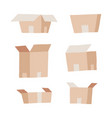 carton delivery packaging set - open and closed vector image