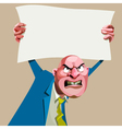 cartoon angry man in a suit holding up a blank vector image vector image
