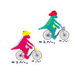 cartoon dinosaur on bikes dino child characters vector image