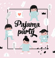 childish design with cute girls in pajamas vector image vector image