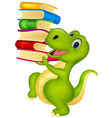 Cute dinosaur with book vector image vector image