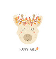 cute giraffe in autumn wreath on white background vector image