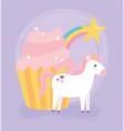 cute magical unicorn pink cupcake rainbow star vector image vector image
