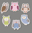 cute owl stickers cute owl stickers vector image