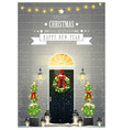decorated christmas front door background vector image vector image
