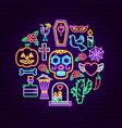 dia de los muertos neon concept vector image