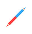 double sided bicolor red and blue pencil vector image vector image