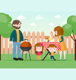 family having a bbq on backyard vector image vector image