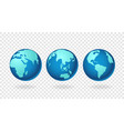 globes earth icons set isolated on transparent vector image
