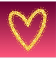 Gold heart on red background vector image