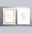 golden wedding invitation with hand drawn twigs vector image vector image