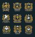 griffin eagle and pegasus golden heraldic icons vector image vector image