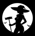 halloween witch silhouette vector image vector image