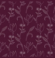hand drawn floral seamless pattern outline vector image vector image