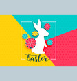 happy easter day background with rabbit and flower vector image vector image