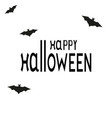 happy halloween text logo cartoon vampire and bats vector image vector image