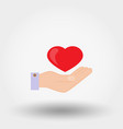 heard in a hand charity mercy icon vector image