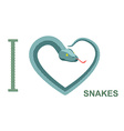 I love snakes Symbol of heart of snake Python vector image vector image