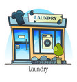 laundry building with t-shirt and washing machine vector image