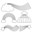 line black and white rainbows with clouds and vector image