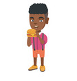 little african-american boy eating a hamburger vector image