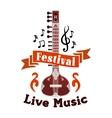 Live folk ethnic music festival emblem vector image vector image